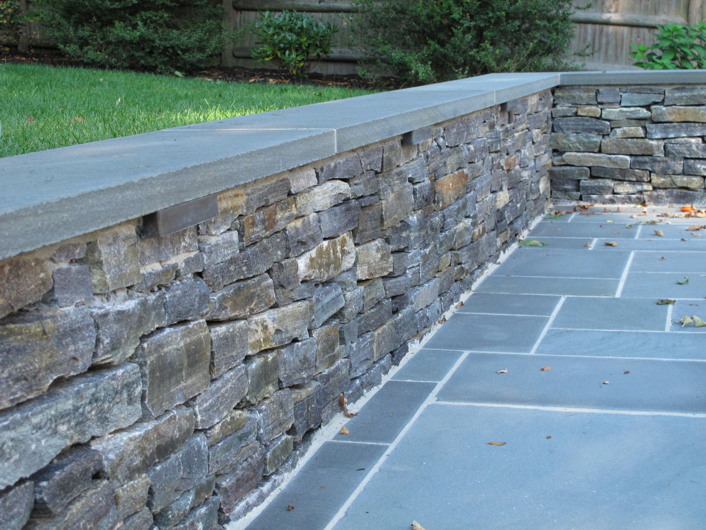 Natural Stone Wall Caps : Nilsen landscape design ideas for lighting a wall